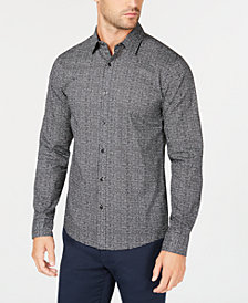 Michael Kors Men's Slim-Fit Mini-Check Shirt, Created for Macy's