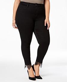 Trendy Plus Size Lace-Hem Skinny Jeans