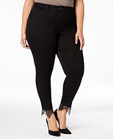 Seven7 Jeans Trendy Plus Size Lace-Hem Skinny Jeans