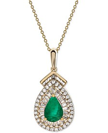"""Emerald (3/4 ct. t.w.) & Diamond (1/3 ct. t.w.) 18"""" Pendant Necklace in 14k Gold (Also Available in Sapphire or Certified Ruby)"""