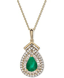 "Certified Emerald (3/4 ct. t.w.) & Diamond (1/3 ct. t.w.) 18"" Pendant Necklace in 14k Gold (Also Available in Sapphire or Ruby)"
