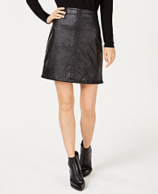 I.N.C. Petite Faux Leather Whip Stitch Mini Skirt, Created for Macy's