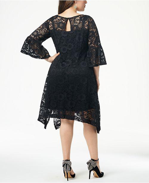 eaa398e811e Robbie Bee Plus Size Lace Handkerchief-Hem Dress   Reviews - Dresses ...