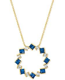 "Sapphire (9/10 ct. t.w.) & Diamond (1/5 ct. t.w.) 18"" Pendant Necklace in 14k Gold"