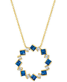 "Le Vian® Sapphire (9/10 ct. t.w.) & Diamond (1/5 ct. t.w.) 18"" Pendant Necklace in 14k Gold"