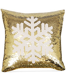 "Hallmart Collectibles Snowflake Sequin 18"" Square Decorative Pillow"