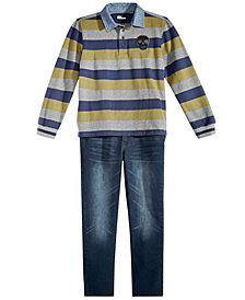 Epic Threads Big Boys Striped Rugby Shirt & Denim Jeans Separates, Created for Macy's
