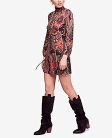 Free People All Dolled Up Paisley-Print Turtleneck Dress