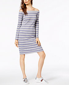 Socialite Striped Off-The-Shoulder Midi Dress