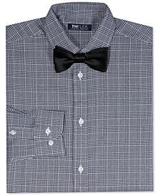 Tommy Hilfiger Big Boys Stretch Houndstooth-Print Shirt with Bow Tie