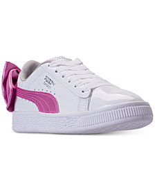 Puma Little Girls' Basket Bow Patent Casual Sneakers from Finish Line