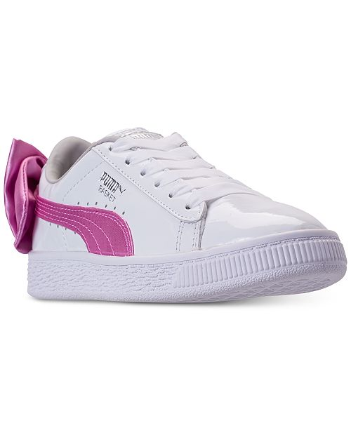 Puma. Little Girls  Basket Bow Patent Casual Sneakers from Finish Line 8f8ede7fb