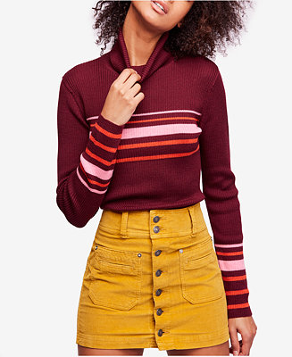 d188fc91c42 Free People Aspen Striped Ribbed Turtleneck & Reviews - Sweaters ...