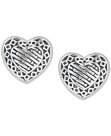 Decorative Heart Stud Earrings in Sterling Silver