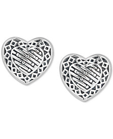 Decorative Heart Stud Earrings in Sterling Silver