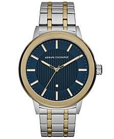 Men's Maddox Genuine Diamond-Accent Two-Tone Stainless Steel Bracelet Watch 46mm