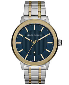 A|X Armani Exchange Men's Maddox Genuine Diamond-Accent Two-Tone Stainless Steel Bracelet Watch 46mm