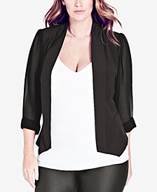 City Chic Trendy Plus Size Chiffon-Sleeve Blazer