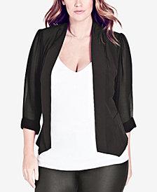 City Chic Trendy Plus Size Chiffon-Sleeve Blazer