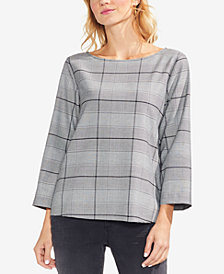 Vince Camuto 3/4-Sleeve Glen-Plaid Top