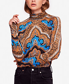 Free People Chase Me Tee Printed Turtleneck Top