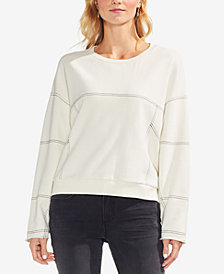 Vince Camuto Cotton Drop-Shoulder Contrast-Seam Sweatshirt