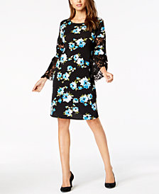Alfani Printed Lace-Inset A-Line Dress, Created for Macy's