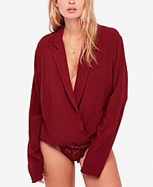 Free People Elsa Deep V-Neck Lace-Bottom Bodysuit