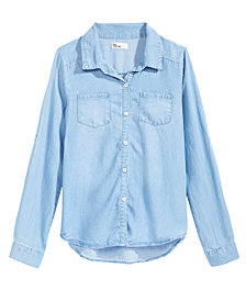 Epic Threads Big Girls Love Chambray Shirt, Created for Macy's