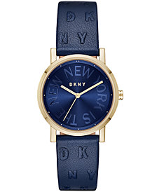DKNY Women's SoHo Ocean Blue Leather Strap Watch 34mm, Created for Macy's