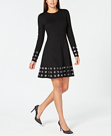 MICHAEL Michael Kors Grommeted Fit & Flare Dress, In Regular & Petites