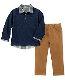 Calvin Klein Little Boys 2-Pc. Faux-Layer Cotton Shirt & Pants Set
