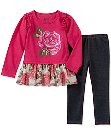Kids Headquarters Toddler Girls 2-Pc. Graphic-Print Tunic & Denim Leggings Set