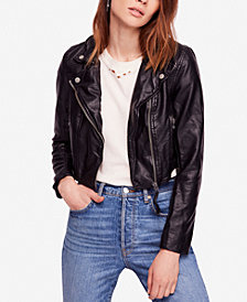 Free People Heartache Faux-Leather Moto Jacket