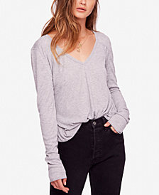 Free People Ribbed V-Neck Top