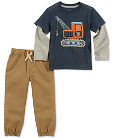 Kids Headquarters Little Boys 2-Pc. Crane Graphic Top & Jogger Pants Set