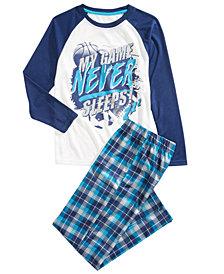 Max & Olivia Little & Big Boys 2-Pc. Game Never Sleeps Pajama Set