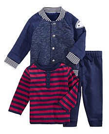 First Impressions Baby Boys Quilted Varsity Jacket, Striped Henley T-Shirt & Jogger Pants, Created for Macy's