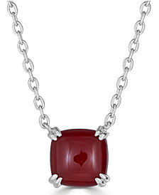 "Red Agate Curved Claw 18"" Pendant Necklace in Sterling Silver"