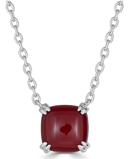 """Macy's Red Agate Curved Claw 18"""" Pendant Necklace in Sterling Silver"""