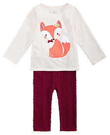 First Impressions Baby Girls Fox-Print T-Shirt & Textured Leggings, Created for Macy's