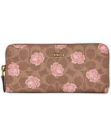 COACH Signature Rose Slim Accordion Zip Wallet