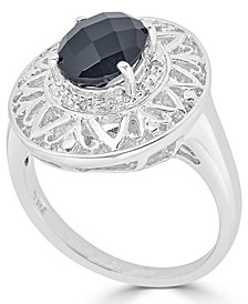 Onyx (14 x 10mm) & Diamond Accent Ring in Sterling Silver