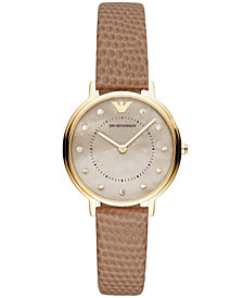 Emporio Armani Women's Bone Leather Strap Watch 32mm