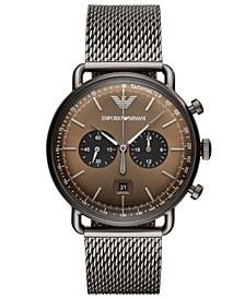Men's Chronograph Gunmetal Stainless Steel Mesh Bracelet Watch 43mm