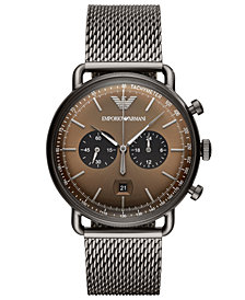 Emporio Armani Men's Chronograph Gunmetal Stainless Steel Mesh Bracelet Watch 43mm