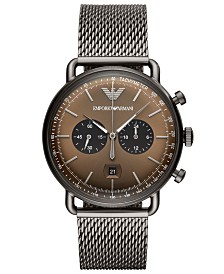 Emporio Armani Men's Chronograph Gunmetal Stainless Steel Mesh Bracelet Watch 43mm