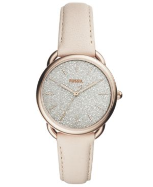 WOMEN'S TAILOR WINTER WHITE LEATHER STRAP WATCH 35MM