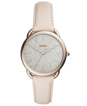 Fossil WOMEN'S TAILOR WINTER WHITE LEATHER STRAP WATCH 35MM