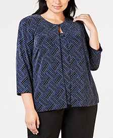 Alex Evenings Plus Size Metallic-Print Jacket Top Set